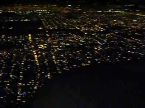 AMS-EZE KL0707 07DEC2012 B777-200 About to land in Buenos Aires (night view of the city)