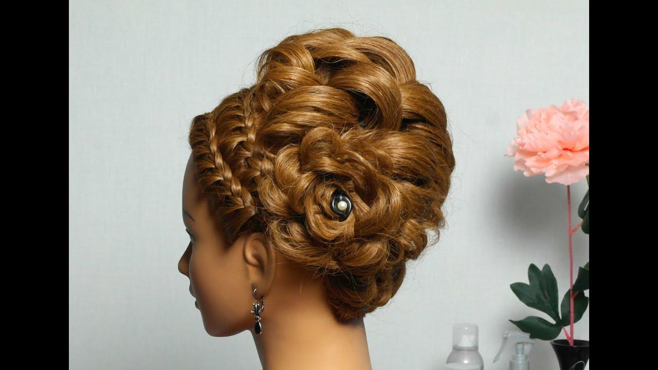 braided updo. hairstyle medium