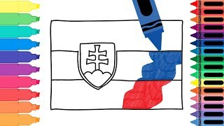 How to Draw Slovakia Flag - Drawing the Slovak Flag - Coloring Pages for Kids | Tanimated Toys