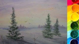КАК нарисовать ЗИМНИЙ пейзаж ГУАШЬЮ(Урок по рисованию зимнего пейзажа гуашью. Показываю и рассказываю. Как нарисовать елочку: https://youtu.be/Y6ONPz5juCY..., 2015-12-03T10:49:31.000Z)