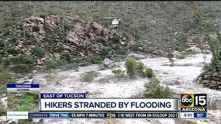 Effort underway to rescue hikers trapped by flash flood at Tanque Verde Falls near Tucson