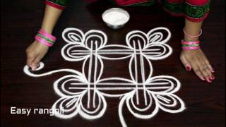 free hand swan rangoli designs || birds kolam designs freehand || muggulu designs without dots