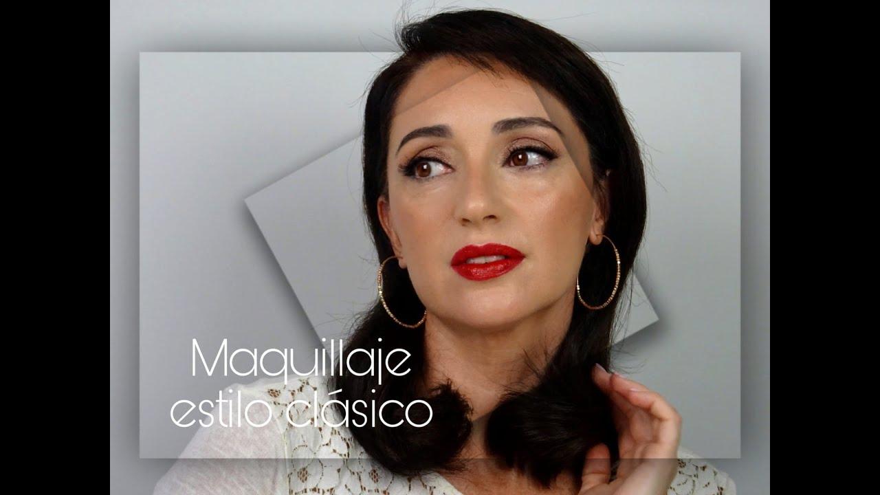 Tutorial maquillaje estilo clasico, sencillo con labio rojo