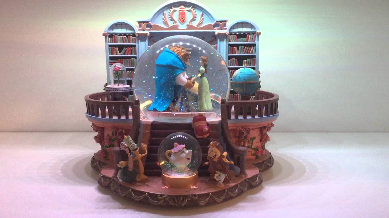 Rare Disney Beauty And The Beast Library Musical Snowglobe