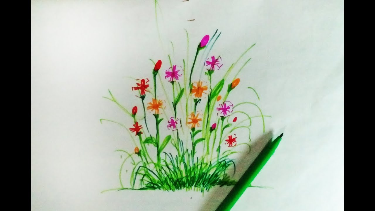 How To Draw Flower Bunch Step By Step Very Easy Drawing Drawing For