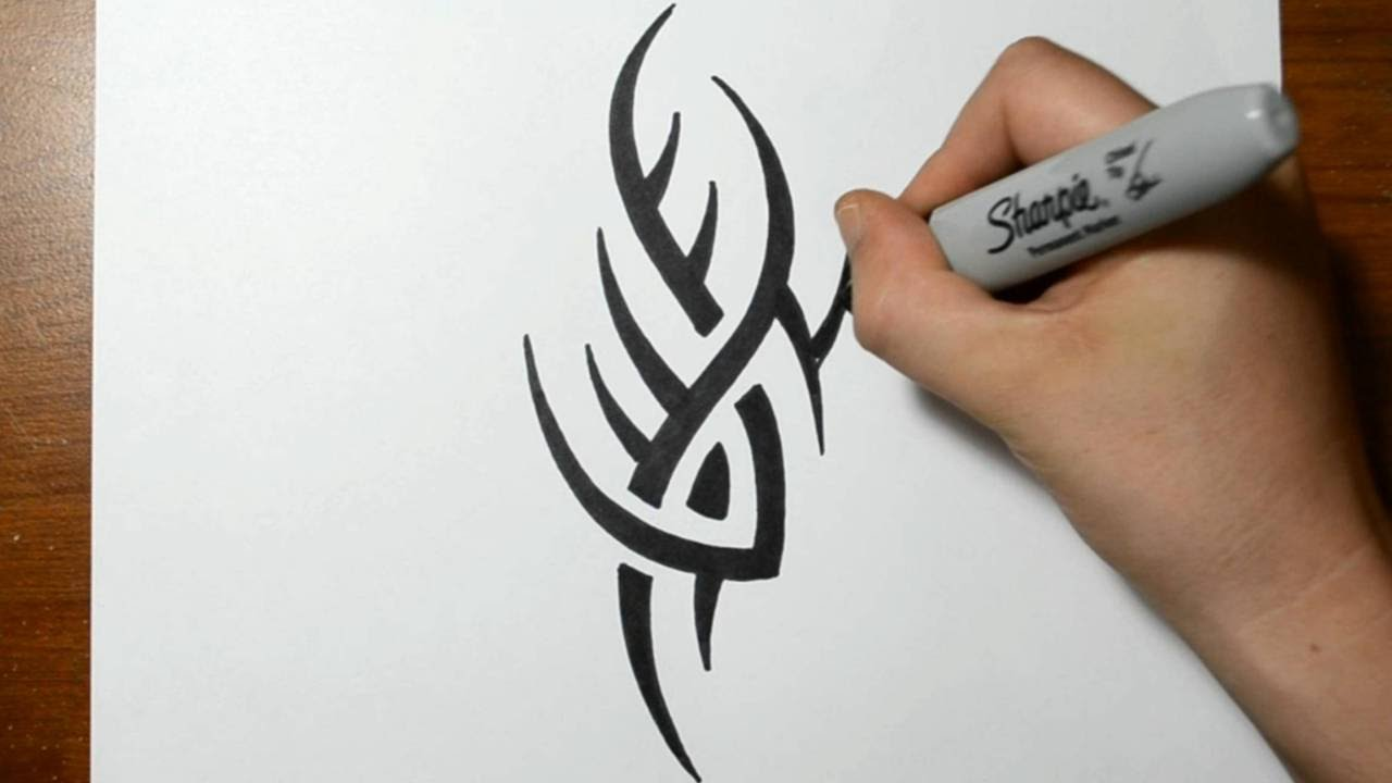48176a598 How to Draw a Simple Spiky Tribal Tattoo Design - YouTube