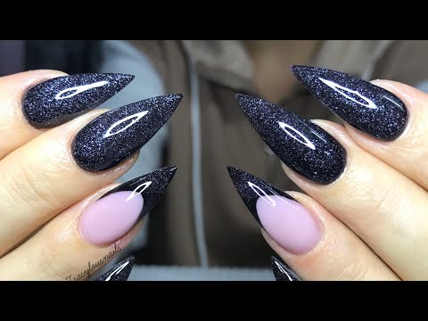 Acrylic Nail Tutorial - Black & smile line thumbnail