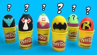 Batman Toys Play-Doh Surprise Egg Challenge & Guessing Game w/ Batman Robin Joker & Bane by KidCity