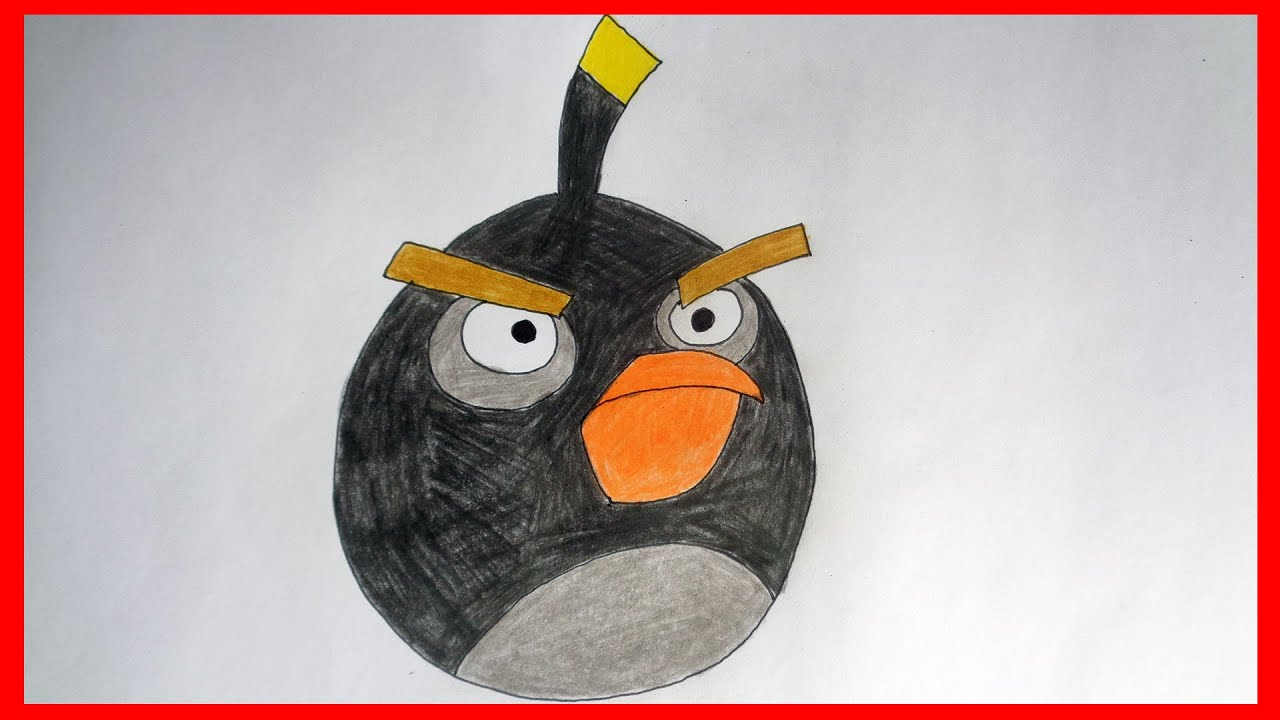 how to draw angry birds bomb youtube. Black Bedroom Furniture Sets. Home Design Ideas