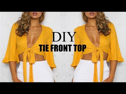 5afccb8e0254fc DIY | How To Make A Tie Front Crop Top (pattern available) - YouTube
