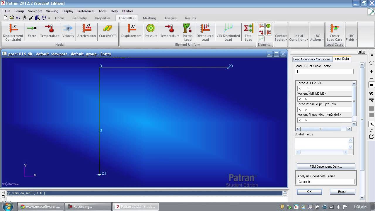 Msc Nastran Patran Tutorial Bending Stresses Displacements And Statics Case Study Solution Free Body Diagram Before Displacement Of A Frame