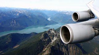 Lufthansa Boeing 747-400 - EXTREME low pass over Coast Mountain Range on approach to Vancouver