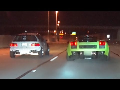Turbo CIVICS vs Twin Turbo LAMBORGHINI!?