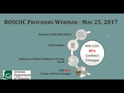 Arizona Department of Housing - BOSCOC Providers Webinar - May 25, 2017