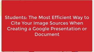 Giving Credit Where Credit is Due: Citing Your Image Sources