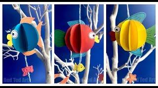 3d Paper Fish DIY-  How to make a 3d Paper Fish Decoration Templates incl