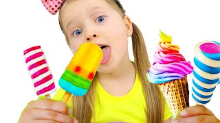Milli and family making ice cream with sand | Milli family SHOW