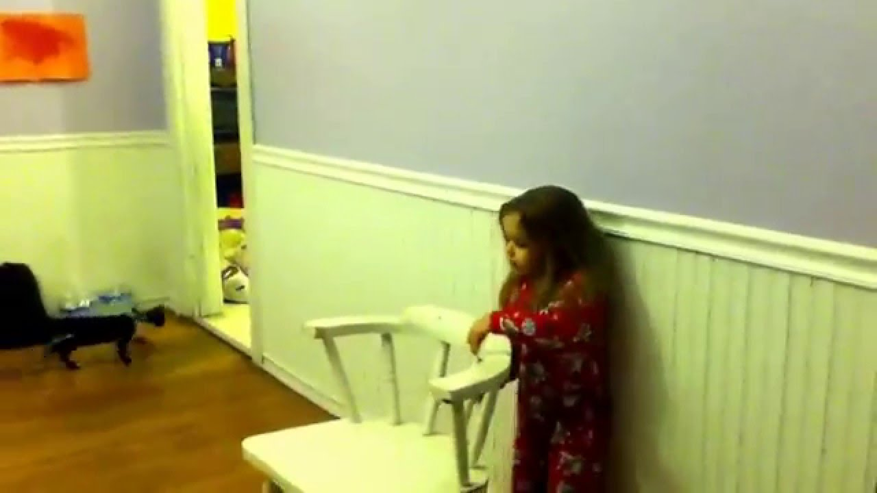 Little girl tries to Twerk on the wall!