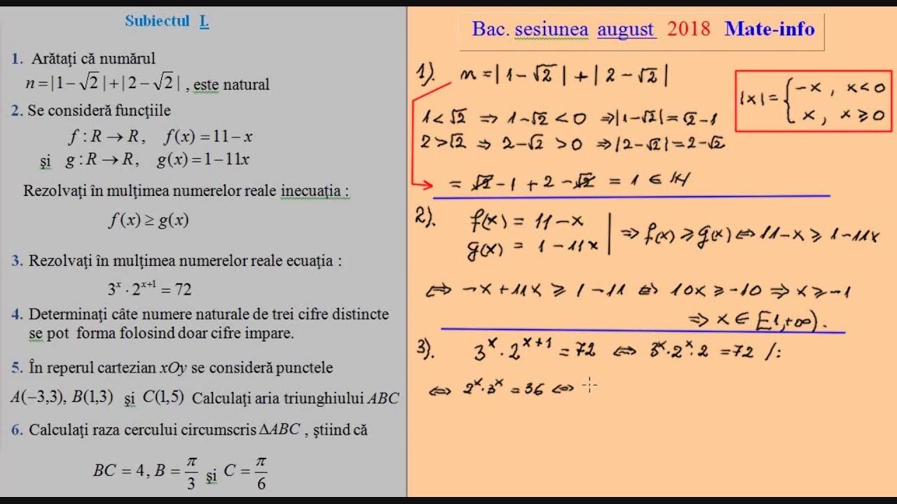 Bacalaureat 2019 la Matematica, Stiintele Naturii