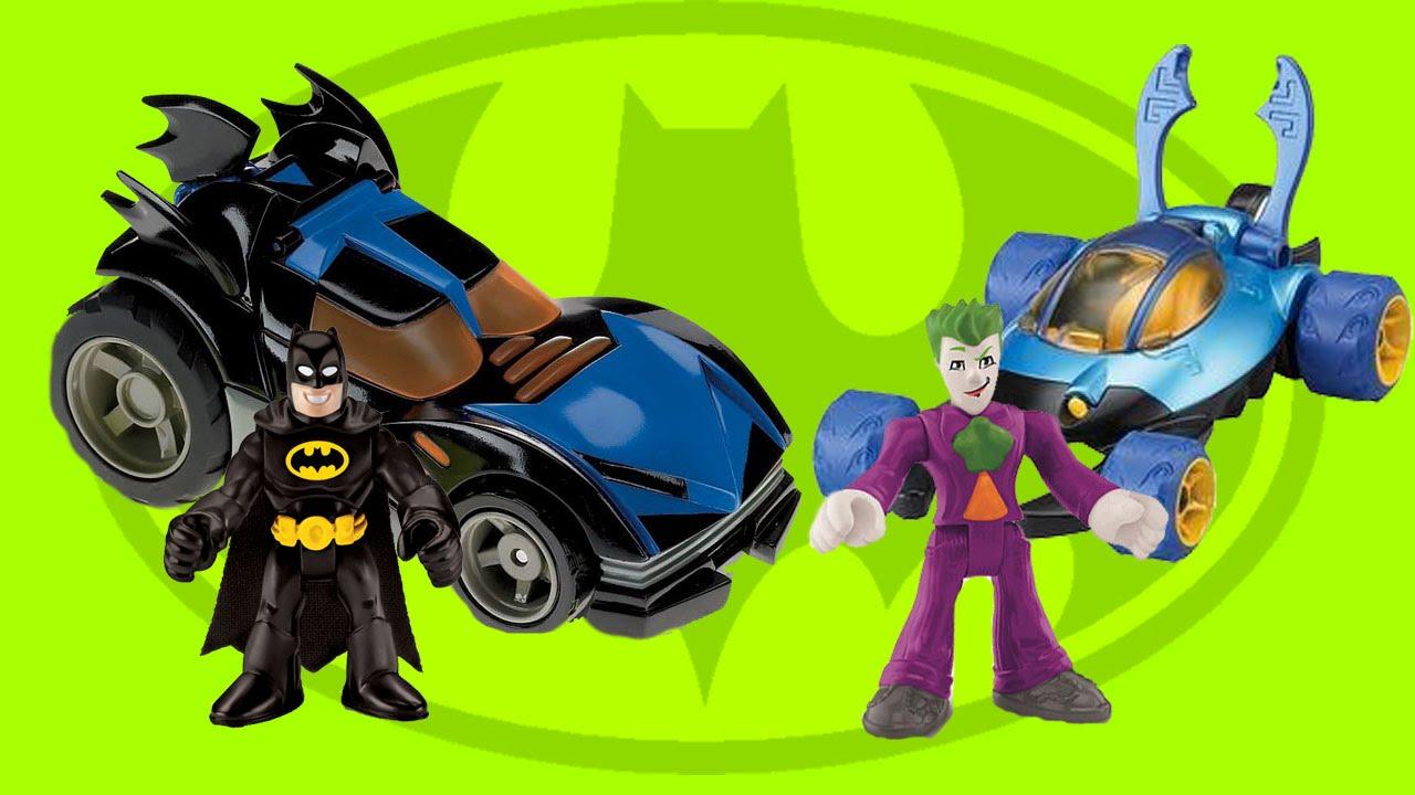 Batman Imaginext Batmobile Races Vs Joker In Blue Beetle Car