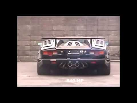lamborghini countach exhaust sound 840 horspower youtube. Black Bedroom Furniture Sets. Home Design Ideas