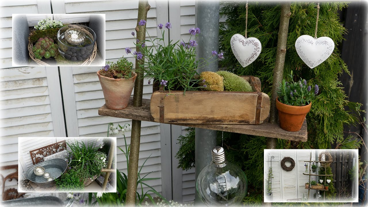 Außendeko für Terrasse und Balkon   diy Leiter gestalten   Blumen und  Dekoration