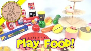 Kitchen Playset - Wood Fruit, Vegetables And Desert Play Food