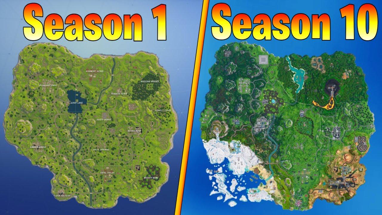 Evolution Of The Fortnite Map Season 1 Season 10