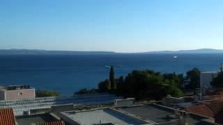 Helicopter delivering goods to Super yacht in Split Croatia