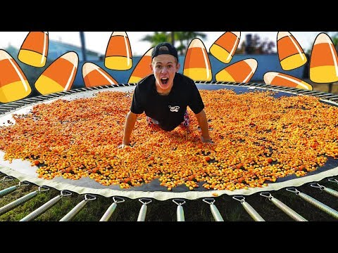 Thumbnail: TRAMPOLINE VS 1,000,000 PEICES OF CANDY CORN!
