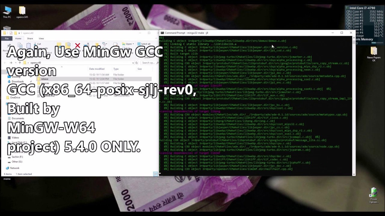 OpenCV V4 0 1 or V3 x Compilation with MinGW and CMake Without Error |  Windows10