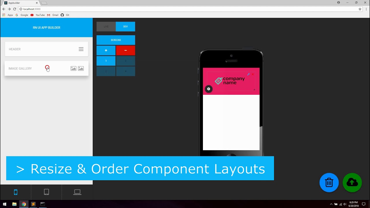 React Native Visual Interface Drag And Drop App Builder Working Prototype #1