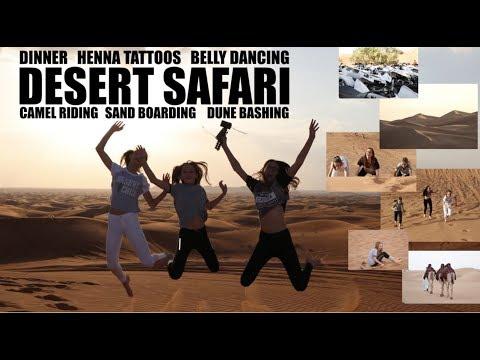 Dubai Desert Safari : Dune bashing, Sand Boarding, Camel Riding, dinner - Nicola's Travel Vlog #3