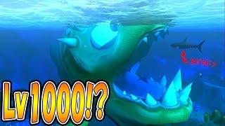 巨大サメを吸いこむピラニア!? 最弱のピラニアでLv1000を目指す!! サメの海で弱肉強食の壮絶バトル!! - Feed and Grow Fish #36