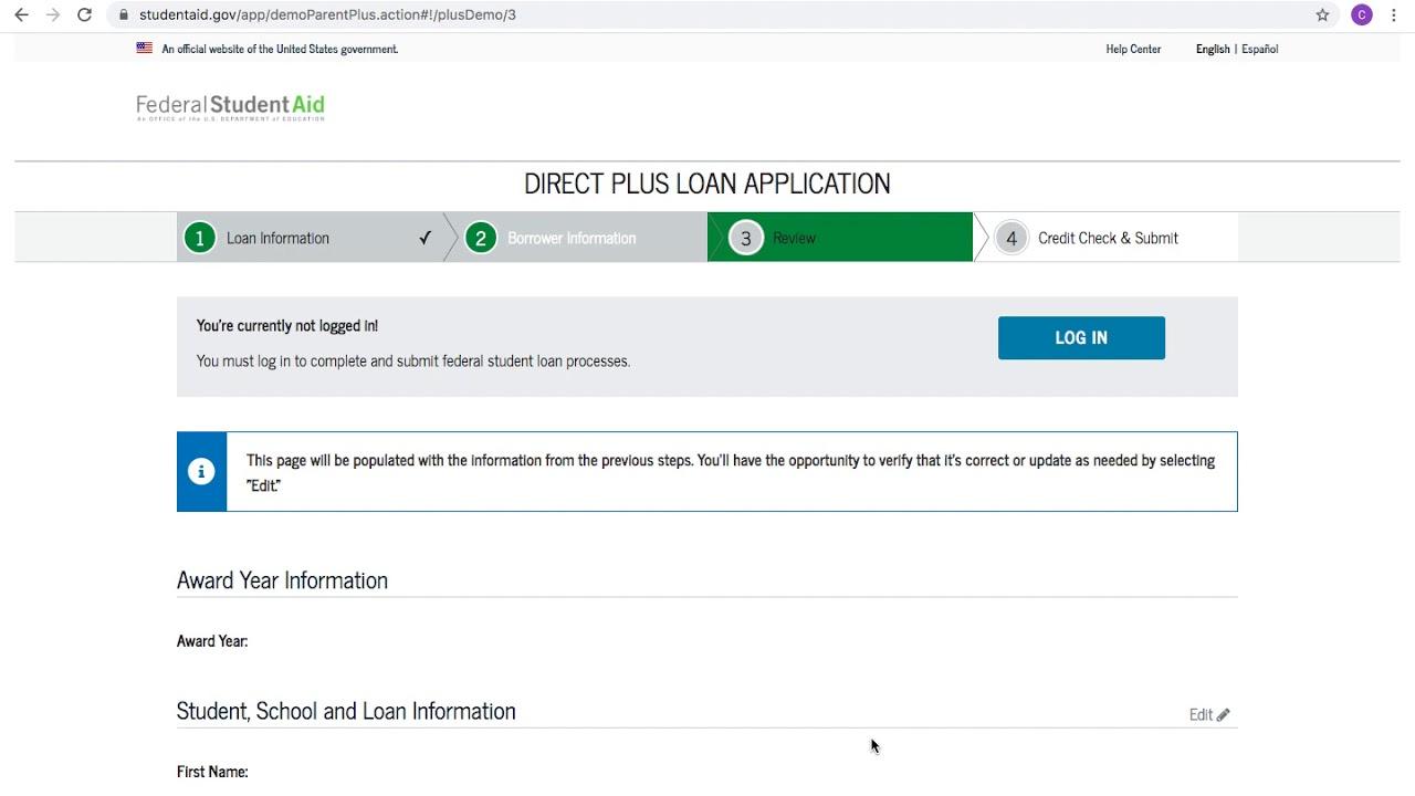 2020 2021 Direct Parent Plus Loan Application Tutorial Youtube