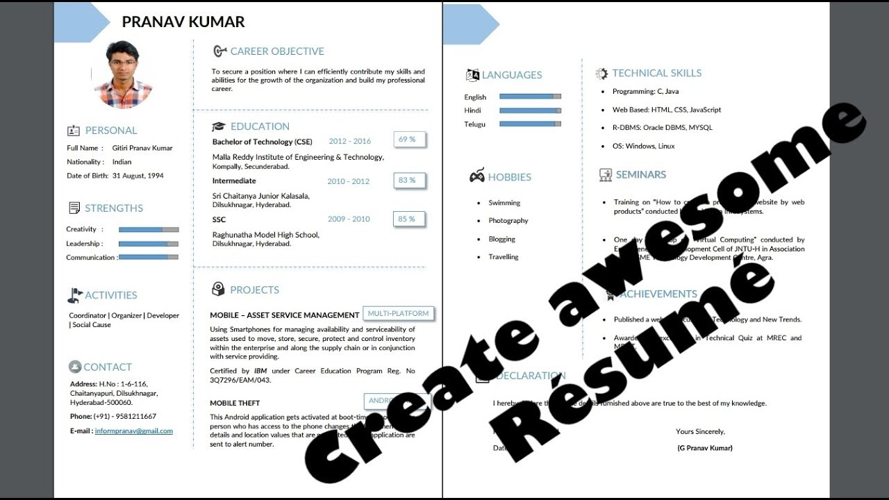 Resume Template  How To Create Resume From Scratch  Downloadable