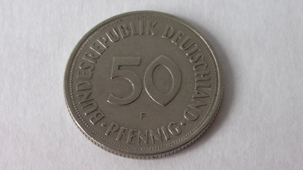 50 pfennig germany 1950 f deutsche mark coin youtube. Black Bedroom Furniture Sets. Home Design Ideas