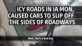 Man Narrates Scene on Icy IA Road