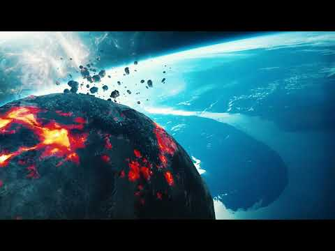 Burning asteroid approaching earth