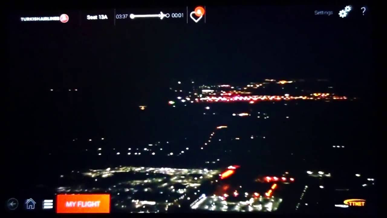 night landing at dulles airport iad airbus a330 turkish airlines