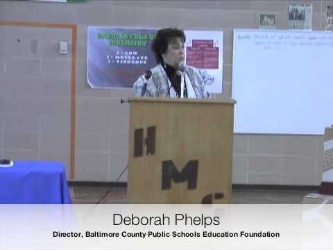 Deborah Phelps at Holabird Middle School with My Healthy World, Inc. and Maryland Physicians Care