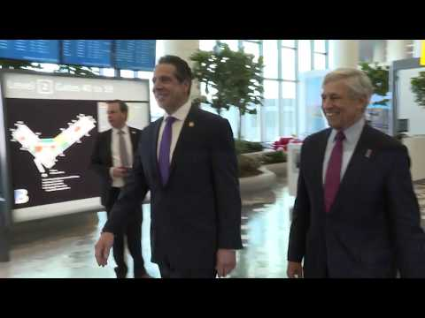B-ROLL- Governor Cuomo Makes an Announcement at LaGuardia