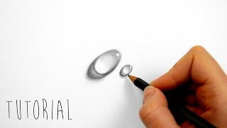 Tutorial | How to draw a water drop on white paper with graphite pencils | Emmy Kalia