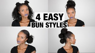 Natural hair tutorial: 4 easy bun styles NO BRUSHES