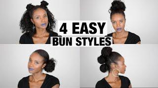 Natural hair tutorial: 4 easy bun styles NO BRUSHES