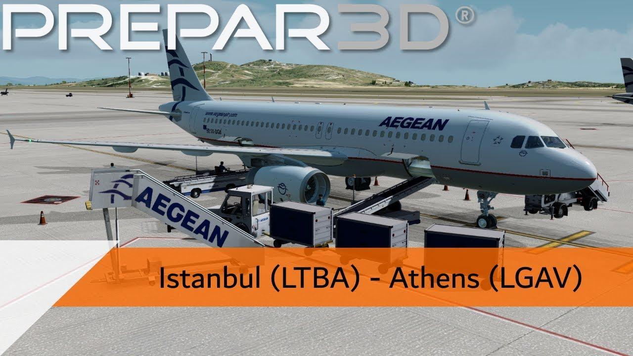 P3D V4 4 Full Flight - Aegean A320 - Istanbul to Athens (LTBA-LGAV)