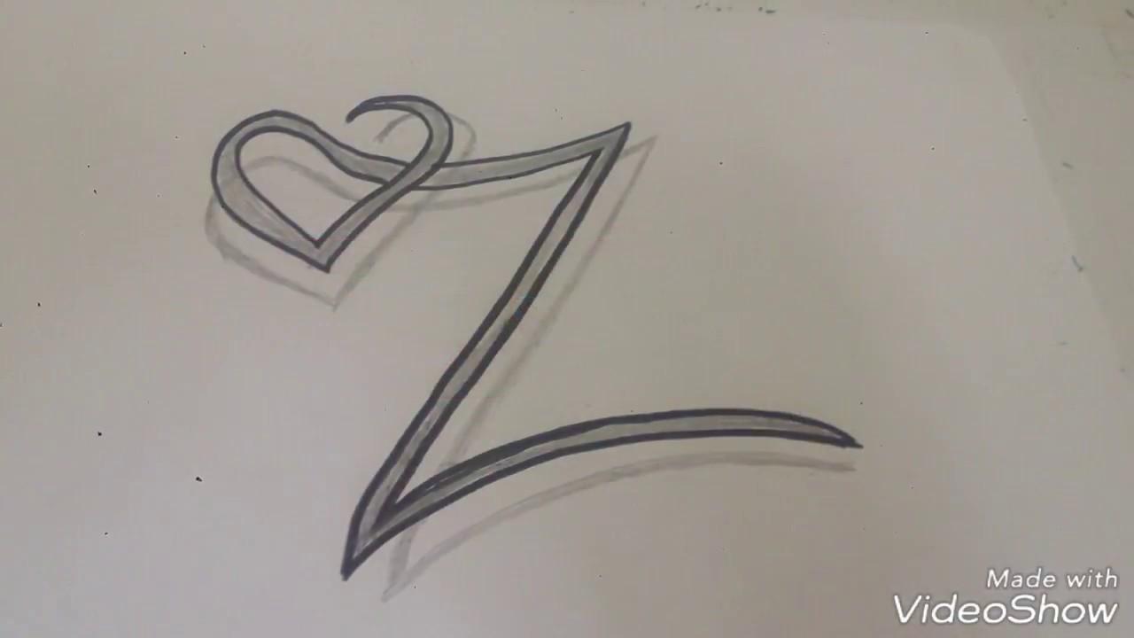 رسم حرف Z بطريقه ابداعيه وبسيطه يمكن تنفيذها بسهوله جرب بنفسك