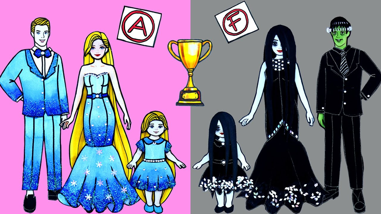 Paper Dolls Dress Up - Rapunzel and Ghost Family Dresses Handmade Quiet Book - Barbie Story & Crafts