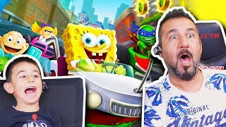 SÜNGER BOB VE ARKADAŞLARI (NİNJA KAPLUMBAĞALAR) İLE ARABA YARIŞI! | Nickelodeon Kart Racers