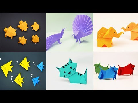 6 EASY ORIGAMI ANIMALS | PAPER CRAFTS FOR KIDS | Paper Animals Crafts